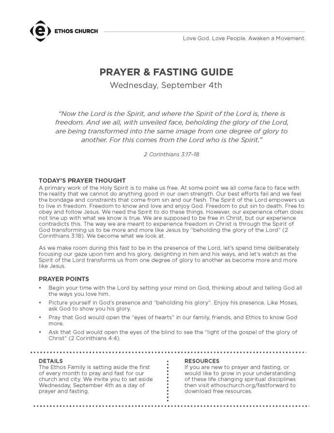 Blog - September 4: Prayer & Fasting   Ethos Church